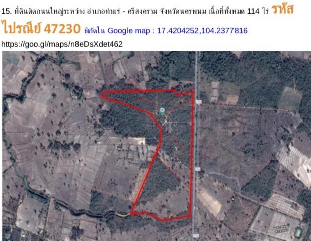ให้เช่าที่ดิน 114 ไร่ ติด ถ.ใหญ่ ระหว่าง อ.ท่าแร่ - ศรีสงคราม จ.นครพนม