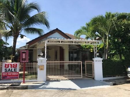 ขายบ้านชั้นเดียว บ้านสวย ร่มรื่น อยู่ในหมู่บ้านกาญจน์กนกโครงการ 1  เนื้อที่ 84 ตารางวา