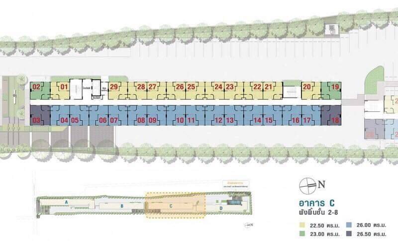ลุมพินี วิลล์ สุขุมวิท 76-แบริ่ง สเตชั่น 2 ขนาด 22.5 ตร.ม 1 นอน 1 น้ำ ชั้น 2 อาคาร C